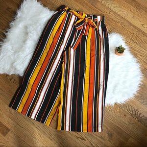ZARA Fall color story stripes wide leg pants